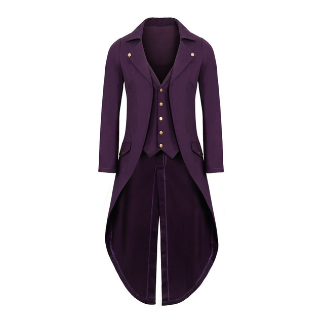 6683ed3f5b3 Mens Purple Gothic Tailcoat Jacket Long Coat Men s Tuxedo Suit Steampunk  Trench Cosplay Costume Victorian Coat Halloween Party-in Holidays Costumes  from ...