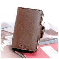 FONMOR cüzdan PU deri kart sahibinin kart koruma (Kahverengi)