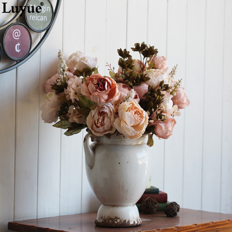 Decorative Flowers & Wreaths: Vintage Silk Flower European 1 Bouquet Artificial Flowers Fall Vivid Peony Fake Leaf Wedding Home Party Decoration 13 Branches
