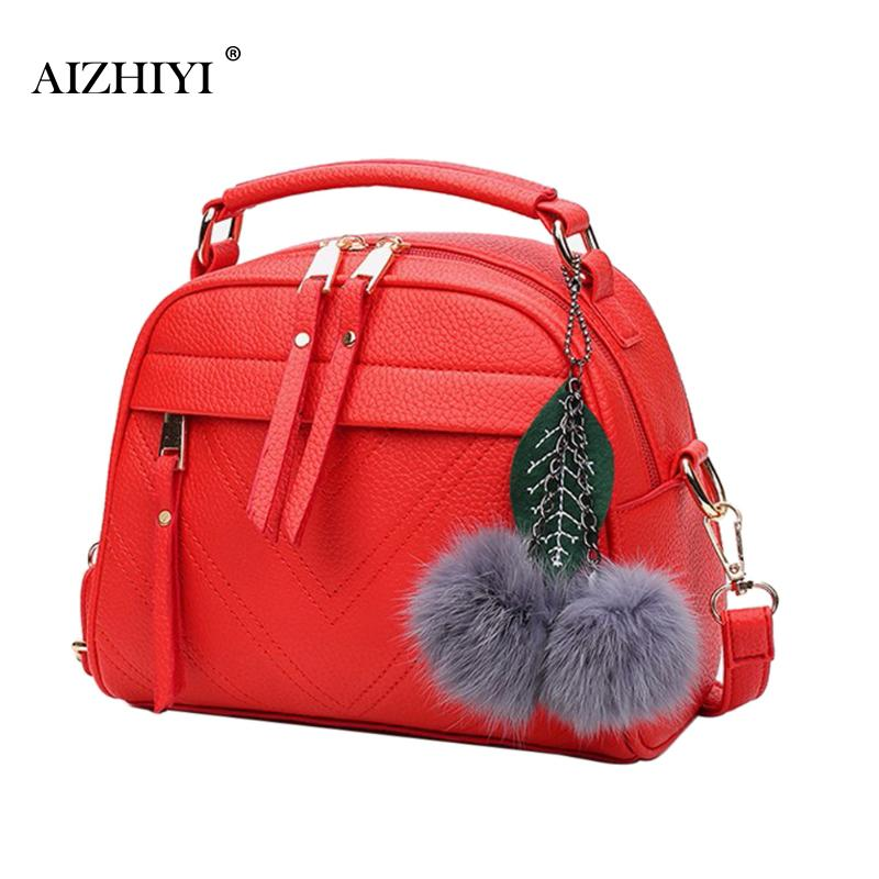 Women Square PU Leather Chain Messenger Bags  With Ball Shoulder Crossbody Bag Female Handbags Sling Clutches Ladies Party Bag
