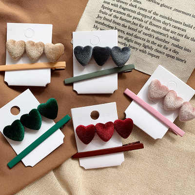 2PCS/SET Retro Velvet Lovely Hairpin Set Korea Trend Heart Shape Hair Clip Barrettes Girl Hairpin Women Fashion Hair Accessories