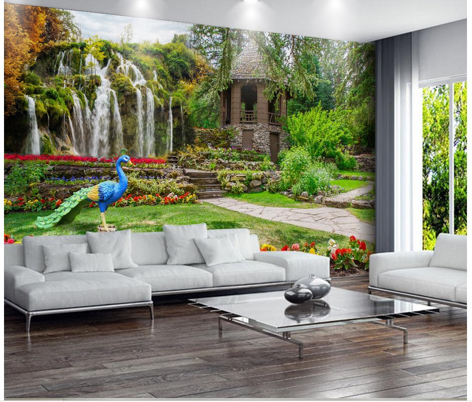 3d wallpaper garden landscapes waterfalls photo wall for Wallpaper decoration for home
