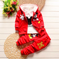 2016 New Chidren Kids Boys Clothing Set thicken Winter 3 Piece Sets Hooded Coat Suits Fall Cotton Mickey Mouse Baby Boys Clothes