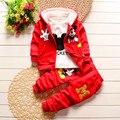 2016 Nova Chidren Crianças Meninos Conjunto de Roupas engrossar Inverno 3 Peça conjuntos de Casaco Com Capuz Ternos Queda de Algodão de Mickey Mouse Meninos Roupas de Bebê