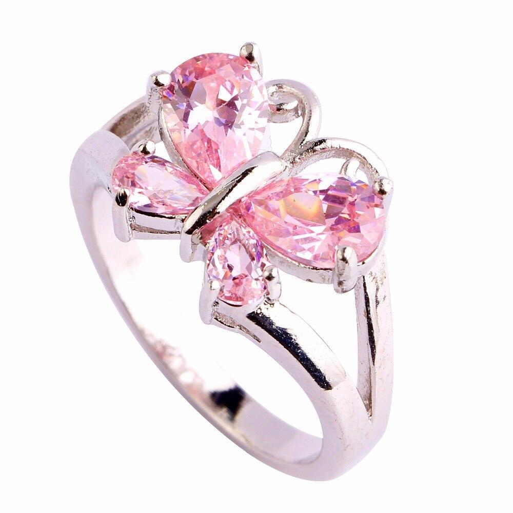 Sweet Women New Butterfly Design Jewelry Girl\'s heart Pink hollow ...