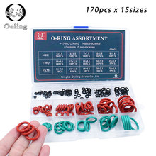 170pcs Mixed Red Silicon Green FKM NBR O Ring Silicone Rubber O-ring Set Seal 15Sizes Gasket Assortment Kit Box