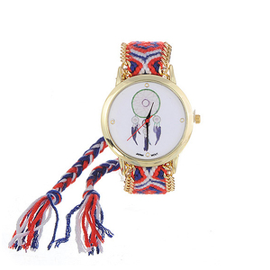Image 3 - ZHINI Watches Stripe Handwoven Strap Wrist Relojes Vintage Wind Pattern Decorated Hand woven Strap Design Fabric Ladies Watches