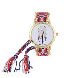 Image 3 - ZHINI zegarki pasek ręcznie tkany pasek na rękę Relojes Vintage wiatr wzór ozdobiony ręcznie tkany pasek projekt tkaniny damskie zegarki