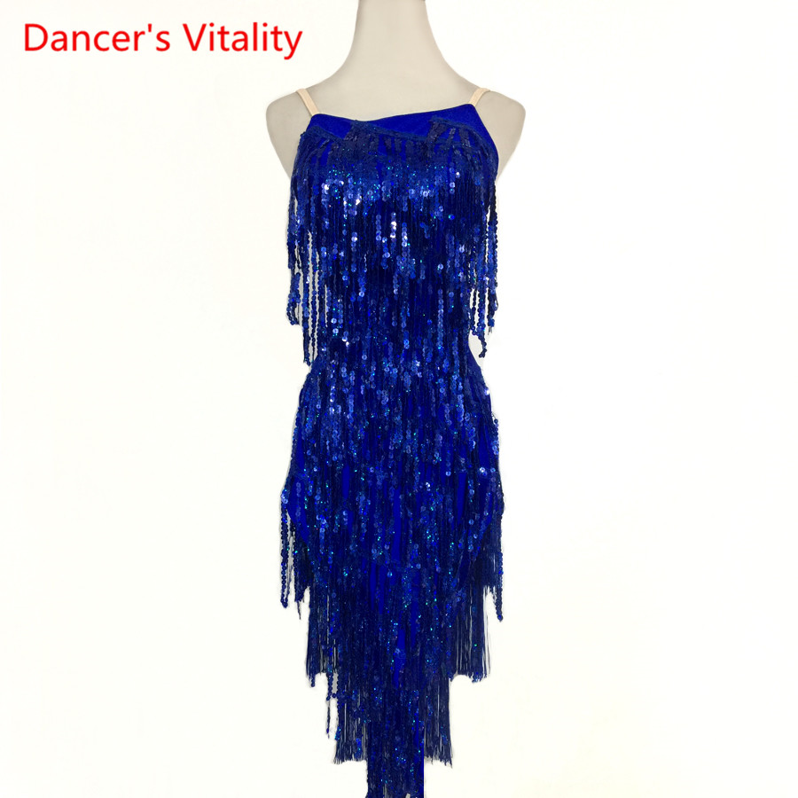 Custom made Latin Dance Dress Competition Clothes Sexy Sling Sequins Tassel Dresses Women Girls Latin Dance Performance Costume
