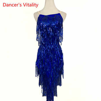 Custom made Latin Dance Dress Competition Clothes Sexy Sling Sequins Tassel Dresses Women Girls Latin Dance Performance Costume - DISCOUNT ITEM  10% OFF All Category