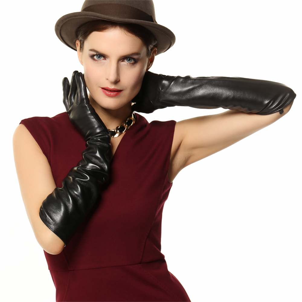 Ladies real leather gloves - New Arrival 2016 Real Genuine Leather Women Gloves Opera Solid Black Fashion Sheepskin Glove For Dressing