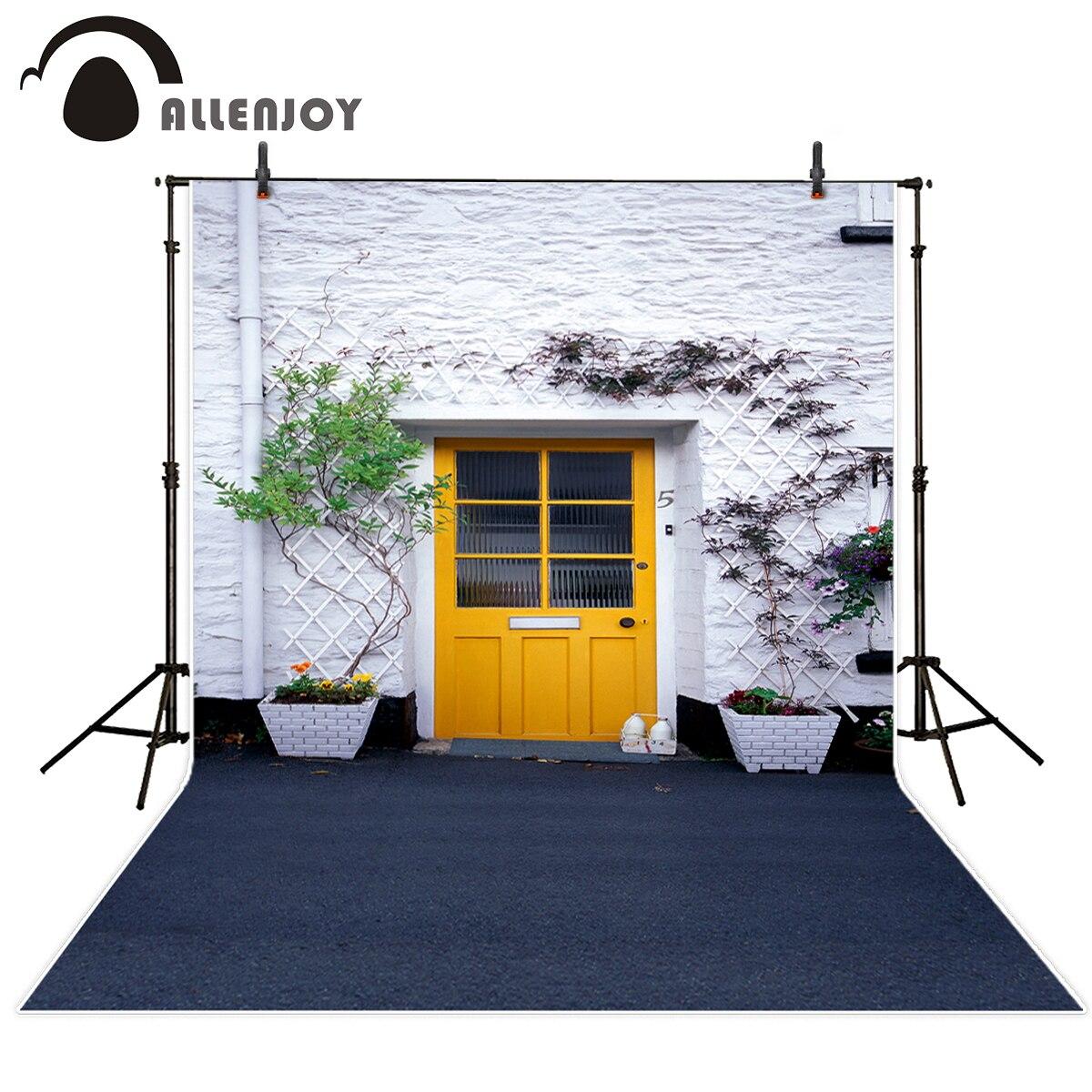 Allenjoy photography backdrops city street yellow door tree children background Background for photo kids photography background