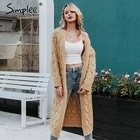 Simplee Winter mohair long cardigan knitted sweater women Long sleeve female jumper cardigan Casual streetwear pull femme 2019