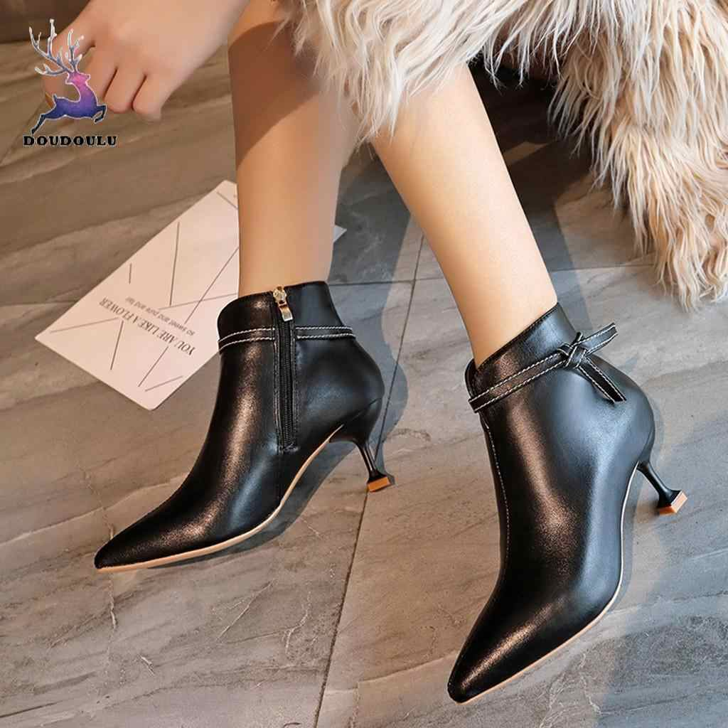 2018 New Hot Winter Women Boots Fashion Sewing Thin High Heel Zip Ankle Boots Women Point Toe Shoes Woman zapatos de mujer
