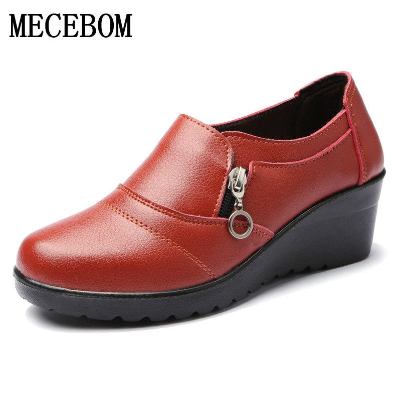 flats Shoes Woman Genuine Leather Women Shoes Flats 3 Colors Buckle Slip On Womens Flat Shoes Moccasins Plus Size S209W
