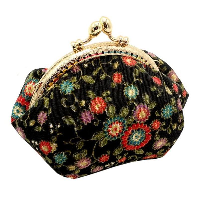 2017 Women Lady Retro Vintage Flower Small Wallet Hasp Cotton Fabric Coin Purse Clutch Bag Floral mini bag Size: 13*12*7cm