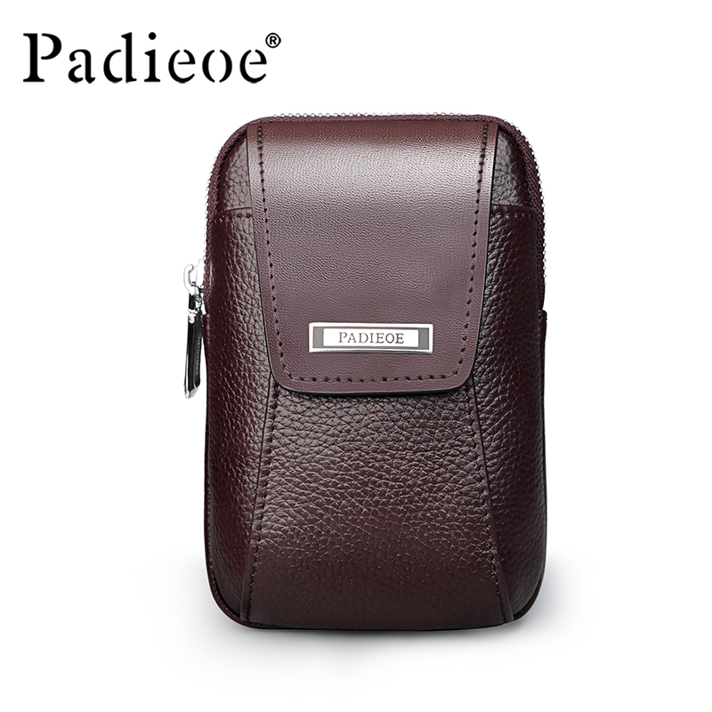 Padieoe Men's Genuine Leather Waist Pack Designer High Quality Waist Bags Vintage Belt Loop Pouch Travel Retro Fanny Bag Male brand logo new multifunctional genuine leather waist pack for men women bags travel belt bag money pouch