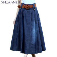 Good Quality 2018 Cotton Plus Size Denim Skirt Women Casual Long Skirts Tutu Jeans Friction Saia Longa With Belt Free Shipping