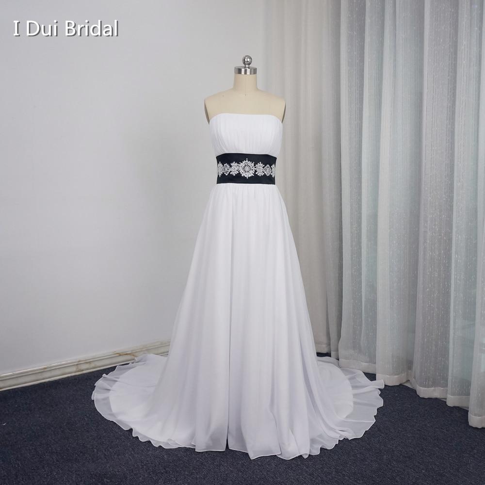 White black wedding dresses contrast color a line for How to make a beaded belt for a wedding dress