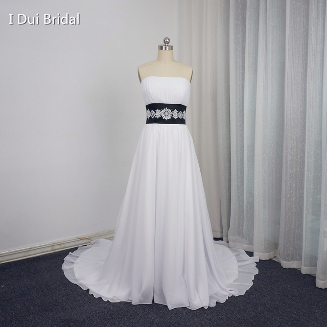 White Black Wedding Dresses Contrast Color A line Strapless Chiffon ...
