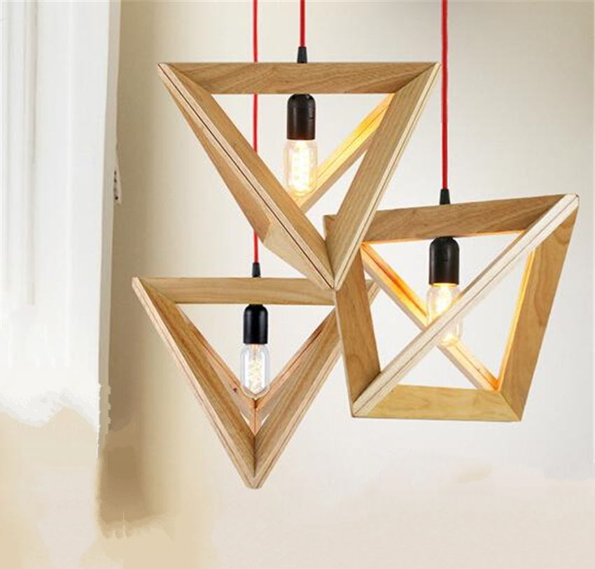 Wood Triangle Modern Pendant Light American Loft Country Style Lamp For  Restaurant/Bar/Dining Part 89