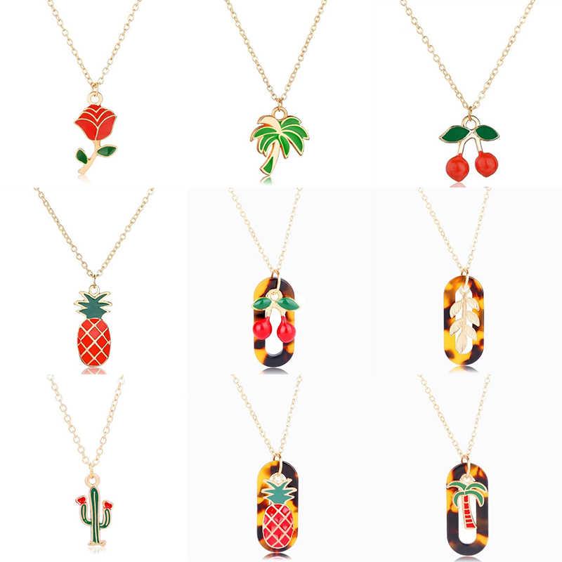 2019 nuevo lindo collar de plantas para mujeres Kawaii colorido Cactus Coco árbol Rosa colgante dorado Metal rojo cereza collares y colgantes