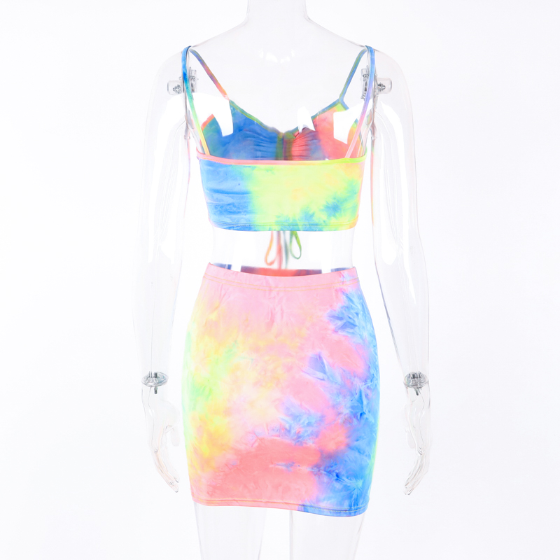 Hugcitar spaghetti straps tie dye print sexy camis skirt two 2 piece set 2019 summer women fashion party club holiday tracksuit 18