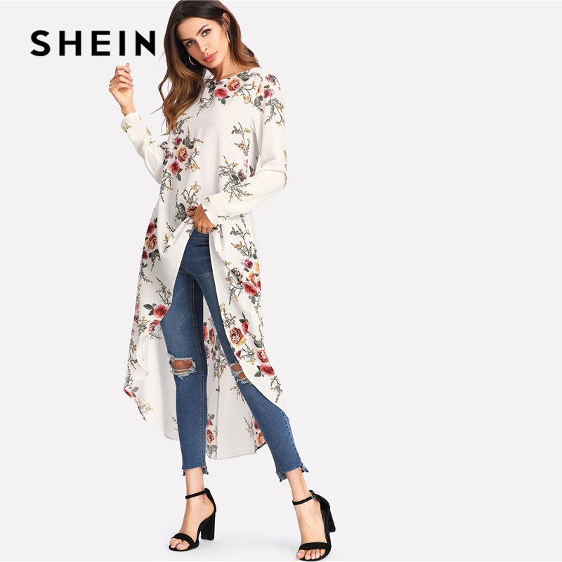 020cfbaea4 SHEIN Flower Print Dip Hem Longline Trapeze Top 2018 Summer Round Neck Long  Sleeve Floral Vacation Blouse Women Beach Top-in Blouses & Shirts from  Women's ...