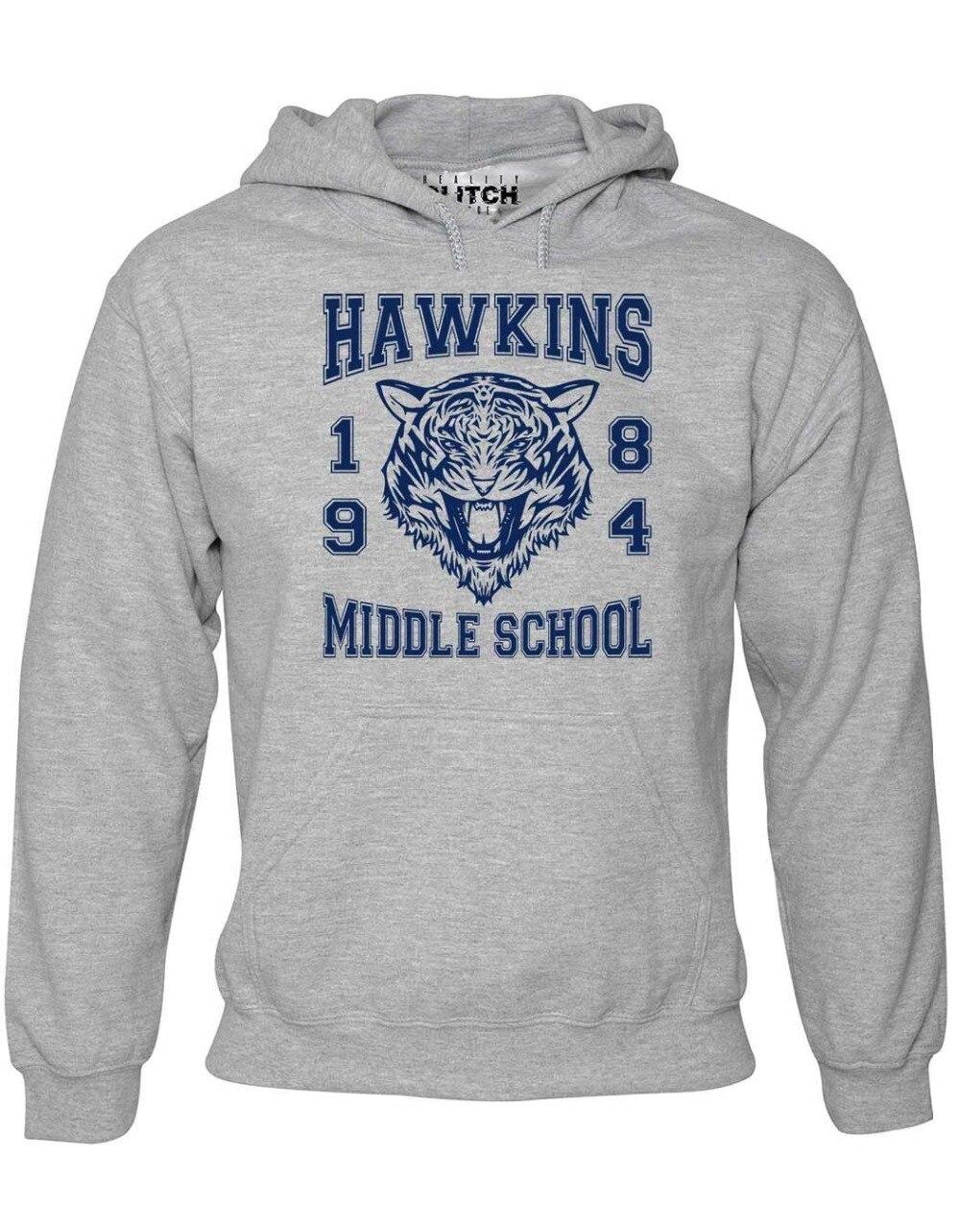 2019 fashion man Hoodie Mens Hawkins Middle School - Stranger Will Sci-Fi Upside Down TV Sweatshirt