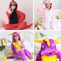 Flannel Kigurumi Dinosaur Onesies For Adults Hooded Long Sleeve Dinosaur Pajamas Overall Whole Onepiece Animal Pajamas