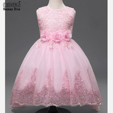 Sunny eva party girl dress children costume princess lace dresses for little girls sequin dress Children