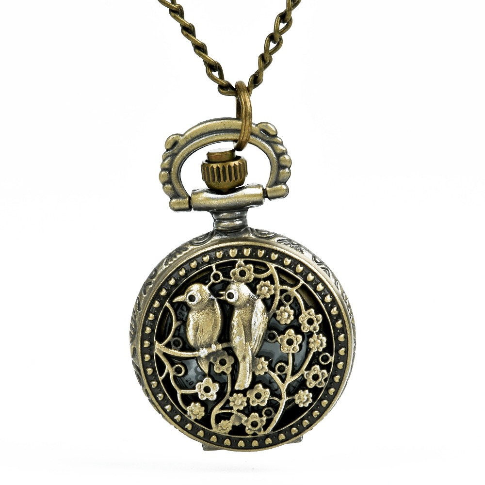 1091 Classical Bronze Pocket Watch  Lover Two Birds Pendant  Antique Jewelry  Openable Mechanical Pocket Watch Gift