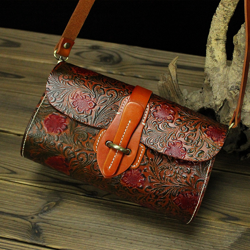 Vintage Flower Pattern Thick Genuine Leather Small Women Messenger Bags Cowhide Woman Shoulder Bags M3442