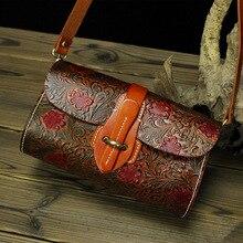 Vintage Blume Muster Thick Echtes Leder Kleine Frauen Messenger Bags Rindsleder Frau Umhängetaschen # M3442