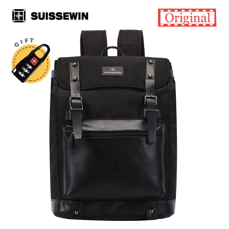 Suissewin Brand Korean Style Backpack Men Leather Backpack Men's 25L Black Casual Urban Backpack Male 13.3 14 inches Laptop Bag
