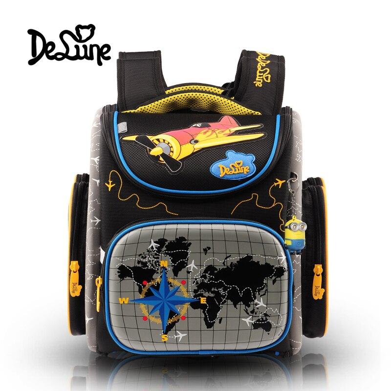 Delune brand Folding bag 3D children cartoon school bag free doll students waterproof child backpack boy travel Stationery bags