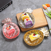 Luxury Pineapple Snake Plate Creative Ceramic Food Dish Jewelry Storage Plate Hotel Bar Home Party Ornaments Crafts Plant Shape