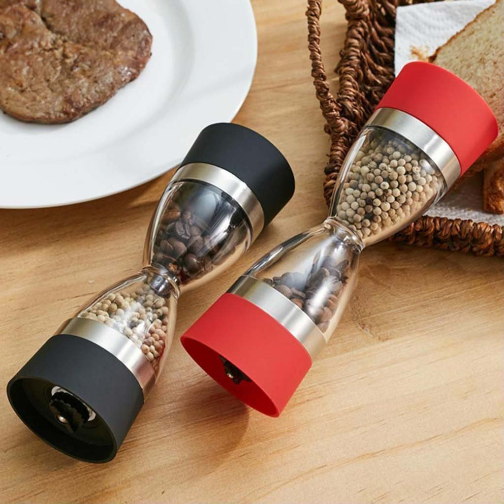 2019 New Arrivals Pepper Shaker Dual Salt Pepper Mill Hourglass Shape Spice Grinder Kitchen Tools Best Selling Dropshipping(China)
