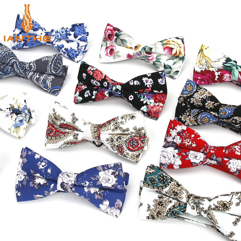 Mens Bow Tie Flexible Bowtie Smooth Necktie Soft 100%Cotton Butterfly Decorative Pattern Paisley Flower Print Neck Ties Cravata