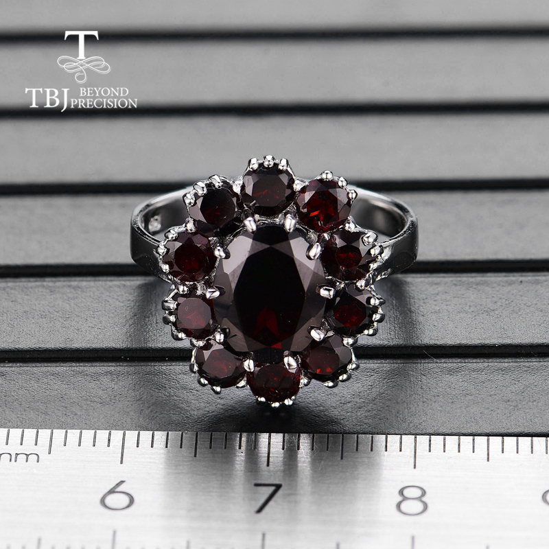 Image 4 - TBJ,925 sterling silver natural gemstone black garnet rings fine  jewelry for woman and girl anniversary