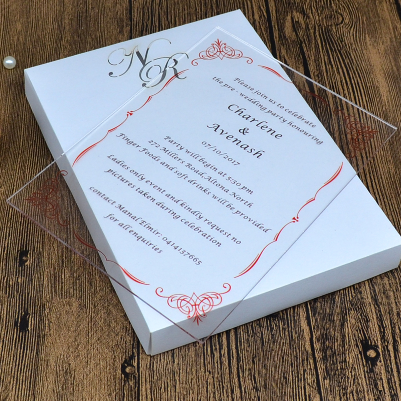 Us 12 8 Acrylic Wedding Invitation Card Uv Printing Or Engraving Luxury Customized Wedding Card In Cards Invitations From Home Garden On