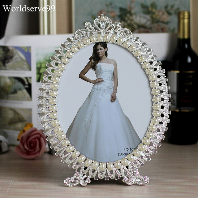 7inch Crystal Pearl Oval Wedding Photo Frame Metal Alloy: Crystal Pearl Oval Wedding Photo Frame Metal Alloy Home