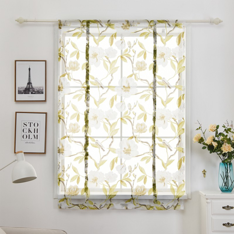 Roman Curtains Floral Print Sheer Curtains Kitchen White