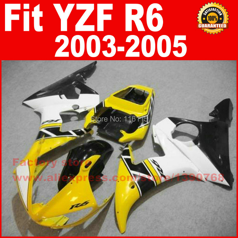 ABS Road/racing motorcycle fairings kit for YAMAHA R6 2003 2004 2005 YZF R6 03 04 05 yellow white fairing kits auldey 88010 abs racing car kit
