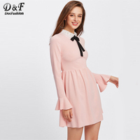 Dotfashion Collar Fluted Cuff Smock Ruffle Dress 2017 Female Pink A Line Fit And Flare Dress