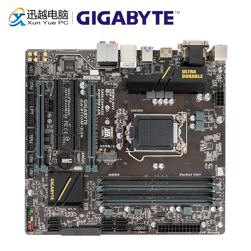 Gigabyte GA B150M D3H Desktop Motherboard B150M D3H B150 LGA 1151 Core i7 i5 i3 DDR4 64G SATA3 USB3.0 DVI VGA HDMI M.2 Micro ATX-in Motherboards from Computer & Office