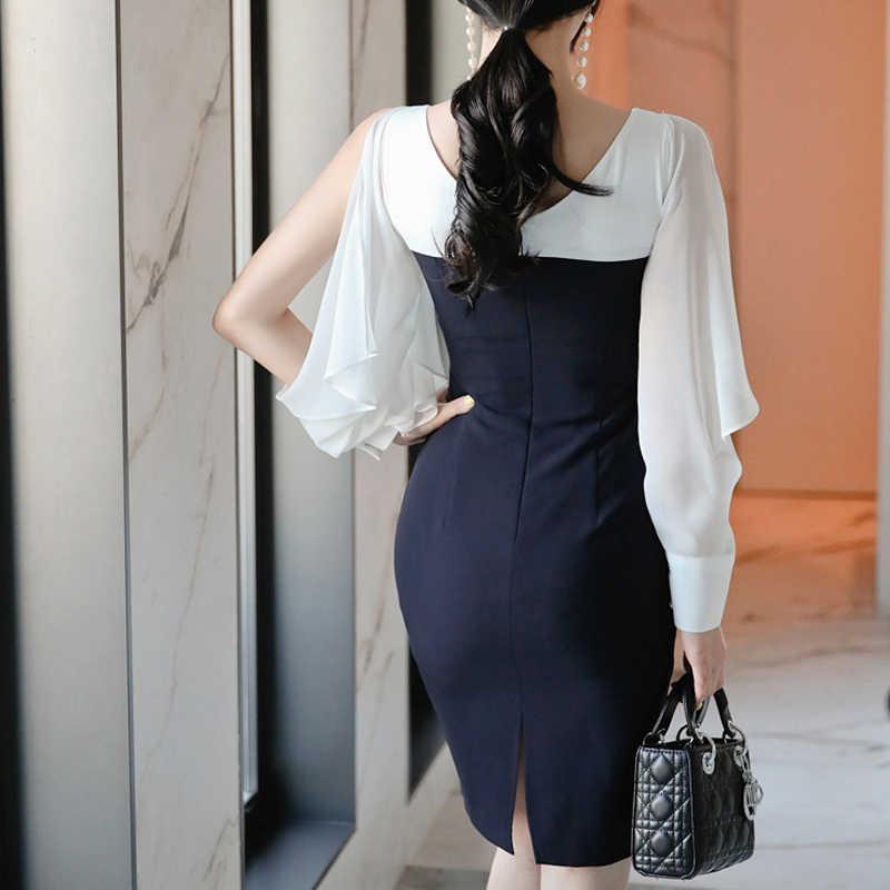 H Han Queen OL élégante tenue de bureau robe crayon femmes 2019 été noir blanc couleur correspondant robes nouvelle gaine moulante Vestidos