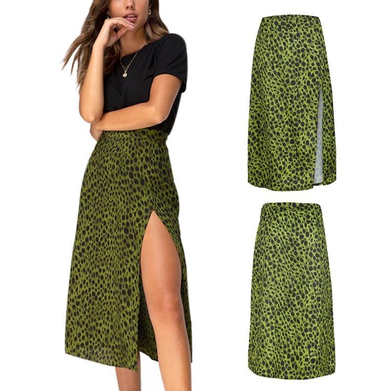 Faldas Mujer Moda 2019 Women Summer Skirt Army Green Leopard Print Over The Knee Lace-Up Print High Waist Long Thin Split Skirt