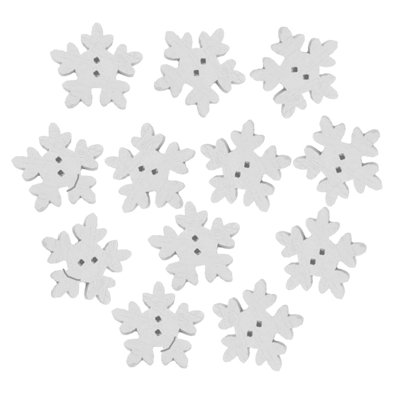 200 Pcs Kayu Natal Kepingan Salju Putih Tombol untuk Sewing Knitting Scrapbooking DIY Kerajinan Xmas-Intl