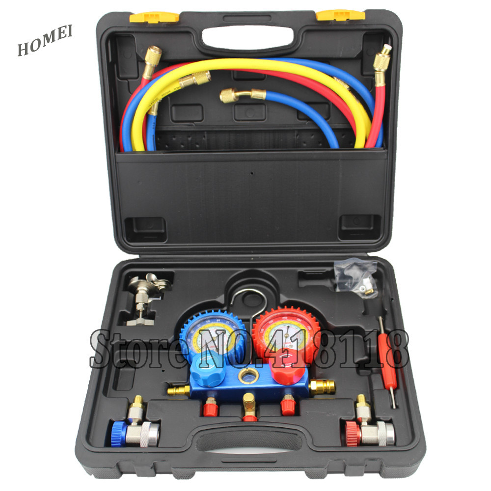 Refrigeration Air Conditioning Manifold Gauge Maintenence font b Tools b font R134A Car Set With Carrying